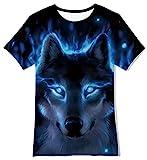 Funnycokid Jungen Mädchen Kinder T-Shirt Sommer Kurzarm Wolf Grafik Cool Top T-Shirt Chirldren T-Shirt Alter 6-8