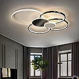 Bellastein Wohnzimmerlampe Deckenleuchte LED Dimmbar mit Fernbedienung, LED Deckenlampe Schlafzimmer Decke Lampe Moderne Metall Acryl Pendelleuchte for Arbeitszimmer Küche Leuchte (Schwarz, 80cm/72W)