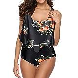 AFFGEQA Damen Bikini Set Push Up Tankini-Set Zweiteilige Badeanzug Bademode Bauchweg Geblümt Modedruck Swimsuit Bikinihose Strandkleidung