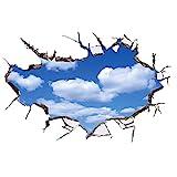 WandSticker4U®- Wandtattoo in 3D Optik: WOLKEN AM HIMMEL I Wandbild: 90x60 cm I Wandsticker blue sky poster Fensterblick I Wand Deko für Wohnzimmer Schlafzimmer Küche Bad Türaufkleb
