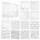 HEXIM 3D Paneele 60x60cm Sparpakete - Wand- und Deckengestaltung mit EPS Styroporplatten weiß - (Rubik, 25,92m²) Deckenplatten, Wandpaneel