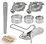 TIMESETL 7Stück Dumpling Maker Teig Presse Set, Edelstahl Dough Press Set Dumpling Maker Knödel Former Pie Mould Ravioli Ausstechformen, Küchenzubehör Einfach DIY Gebäck Werkzeuge