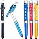 PEARL Kugelschreiber mit Licht: 4in1-Kugelschreiber mit LED-Lampe, Touchpen und Handy-Ständer, 5er-Set (Stift mit Lampe)