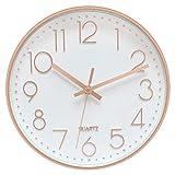 Foxtop 30 cm Rund Modern Quartz Lautlos Wanduhr Schleichende Sekunde ohne Ticken für Büro Heim Schule (Rose Gold, 12 Zoll)