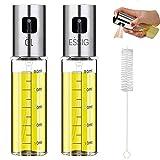 Mgee Oil Sprayer Olivenöl Sprüher 2PCS mit Reinigungsbürste, Essig Spritzer Ölspender zum Grillen, Backen, Salat Machen (100ML,2PCS)