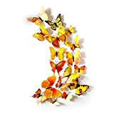3D Schmetterlinge Deko Schmetterling Wanddeko Butterfly Wandsticker 3D Wandtatoo Schmetterlinge Balkon Deko (72 stück,Gelb)