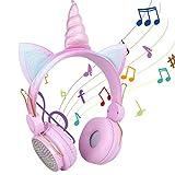 Kinder Kopfhörer, Katzenohr Bluetooth Headset mit 85dB Volumen Begrenzt für Smartphone, Tablet, Laptop, Computer, MP3, Mädchen Geschenk
