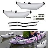 HAN XIU Tragbarer aufblasbarer Kayak-Outrigger Kayak PVC-aufblasbarer Ausleger-Kayak-Kanu-Angelboot stehendes Float-Stabilisatorsystem,Weiß