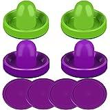 ONE250 Air Hockey Schieber und lila Air Hockey Pucks, Torgriffe Paddel Ersatzzubehör für Spieltische (4 Schläger, 4 Puck Pack) (lila & grün)