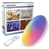LED Deckenleuchte Farbwechsel, BIGHOUSE 18W 1600lm LED Deckenleuchte Dimmbar 2700K-6500K, IP44 Wasserfest für Badezimmer, Wohnzimmer, Balkon, Küche, Ø30cm