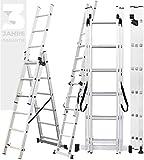 𝐂𝐑𝐀𝐅𝐓𝐅𝐔𝐋𝐋 Aluminium Leiter Teleskopleiter Klappleiter CF-106A - 𝟑 𝐉𝐀𝐇𝐑𝐄 𝐆𝐀𝐑𝐀𝐍𝐓𝐈𝐄 - Stehleiter - Multifunktionsleiter (3.38 Meter (3x6 Sprossen))