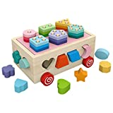 Steckwürfel Aus Holz, Formsortierer Sortier Stapel Steckspielzeug Montessori Lernspielzeug, Holzsteckspiel Für Baby Kleinkind Montessori Lernspielzeug Geschenk Zum Geburtstag Kindertag