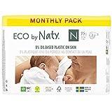 Eco by Naty, Größe Neugeboren, 100 Windeln, -4 5kg, MONATSVORRAT, pflanzliche Premium-Bio‑Windeln mit 0% Plastik auf der Haut