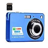 Digitalkamera, 2,4-Zoll-FHD-Taschenkameras Wiederaufladbare 24-Megapixel-Kamera für Rucksacktouren mit 8-Fach Digitalzoom-Kompaktkameras für Fotografie 32-GB-SD