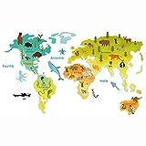 Wandtattoo Weltkarte Tiere 100x58cm Lernposter für Kinderzimmer Spielzimmer Aufkleber Wandsticker Deko bunt für Mädchen und Junge YX026