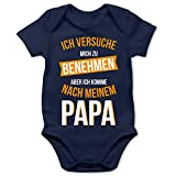 Shirtracer Ich versuche Mich zu benehmen Papa orange - 1/3 Monate - Navy Blau - Body Langarm Onkel - BZ10 - Baby Body Kurzarm für Jungen und Mädchen