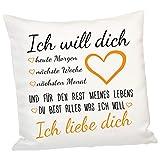 Geschenke 24 Kissen Ich Will Dich - Dekokissen in Orange - Kissenbezug 40x40, Deko Wohnzimmer, Deko Schlafzimmer - Valentinstagsgeschenk, Geburtstagsgeschenk