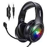 prasku Stereo LED Gaming Headset Noise Cancelling Bass Surround Weiche Ohrenschützer für für PS5 PC Laptop Tablet Computerspiele Smartphones
