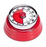 Mechanische visuelle Uhr Timer, Küche Kochen Countdown Timer Alarm, keine Batterien erforderlich, magnetischer Stahlkörper, Zeitmanagement-Werkzeug für Unterricht, Hausaufgaben-Übung – Rot