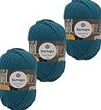 3x200gr Home Decor -weiches Textilgarn- gleichmäßige Einfärbung und Garnstärke- Häkelgarn für Kissenhüllen, Taschen, Häkeldecken- Jersey Garn in großer Farbauswahl (1521 petrol)