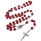 CeFoney Rosenkranz Perlen Halskette für Männer Frauen Kinder Katholisch Christlich Religiöses Gebet Kruzifix Christlich Taufe Geschenke