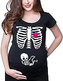 Alessioy Damen Kurzarm Umstands-T-Shirt Kurzarm Ausschnitt Crew Cartoon Mode Living Muster T Shirt Tops Mama Umstandsmode Umstandskleidung Schwangerschaft Stilltop T Shirt Sweatshirt Gr. M, 1-schwarz