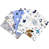 TupTam Baby Moltontücher Flanellwindeln Spucktücher Stoffwindeln Mädchen Jungen 70x80 5er Pack, Farbe: Junge, Anzahl der Teile:: 5er Pack