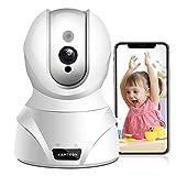 WLAN IP Kamera,KAMTRON HD WiFi Überwachungskamera,mit 350°/100°Schwenkbar,Home und Baby Monitor mit Bewegungserkennung, Zwei-Wege-Audio, Nachtsicht, unterstützt Fernalarm und Mobile App