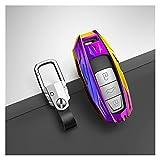 JHDS Autoschlüssel Schlüssel Hülle Schlüsselanhänger Wearable Auto Key Case Cover Tasche Mit Keychain Für Audi A1 A3 8V A4 B9 A5 A6 C8 Q3 Q5 Q7 TT Autoschlüssel Schutzhülle (Farbe : Lila)