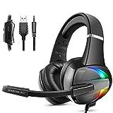 Gaming Headset für PS4 PC Xbox One, mit RGB Licht Bass Stereo Surround Sound Rauschunterdrückung Mikrofon 50MM Treiber