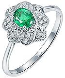 AmDxD Ring Hochzeitstag 18k Weißgold, Blumen 4 Prong 0.3ct Oval Smaragd mit 0.08ct Diamant Damenringe, für Hochzeit Verlobung, Weiß Gold, Gr.62 (19.7)