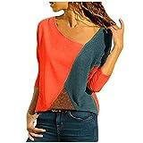 MRULIC Damen Kurzarm T-Shirt Rundhals Ausschnitt Lose Hemd Pullover Sweatshirt Oberteil Tops (EU-48/CN-4XL, A-Rot)