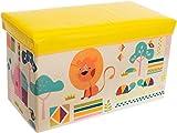 Bieco Aufbewahrungsbox mit Deckel Kinder Zoos, faltbar, Sitzhocker mit Sitzgelegenheit, und Polsterung, Spielzeugkiste mit Stauraum, Sitztruhe, Jungen & Mädchen, 66 L, Belastbar bis 80 Kg, gelb