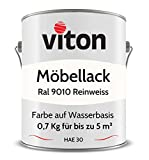 VITON Möbelfarbe - 0,7 Kg - Seidenmatt Weiss - HAE 30 - RAL 9010 Reinweiss