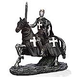 mtb more energy Ritter Figur ''Riding Dark Templar'' - Kreuzritter auf Pferd mit Schwert - Höhe ca 14 cm - Fantasy Mittelalter Spielfigur Dekoration