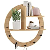 Wandmontiertes Rundregal, Wandlagerungsständer, Hängen Sie einen Aufhänger hinter der Tür, Home Garderobe, Schlafzimmerwandhaken (Color : Wood, Size : 60cm)