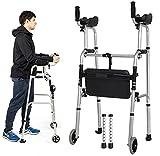 Rollator Gehhilfen Leichter Stehroller für Senioren mit Sitz- und Unterarmstütze, Klappbarer Reha-Hilfsständer Aus Aluminium, Höhenverstellbare Gehhilfe