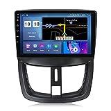 ADMLZQQ Android 10.0 Autoradio Media Player für Peugeot 207 2006-2015 GPS-Navigation MP5 Multimedia-Player mit Bluetooth/MirrorLink/Lenkradsteuerung+Rückfahrkamera,M500s