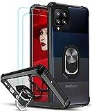 LeYi für Hülle Samsung Galaxy A42 5G mit Panzerglas Schutzfolie(2 Stück),Ringhalter Schutzhülle Acryl Cover Air Cushion Bumper Handy Hüllen für Case Samsung Galaxy A42 5G Handyhülle Schw