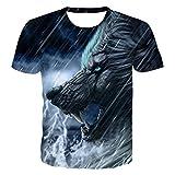 DREAMING-Sommertier Wolfskopf 3D Digitaldruck Rundhals-Pullover lässig Top Herren und Damen Kurzarm T-Shirts XXL