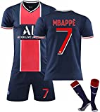 GJMYQ Herren Trikot, Paris Saint-Germain 2021 Zweites Auswärtstrikot, Mbappé 7# / Neymar 10# Fußballtrikots Kindertrikotanzug, T-Shirt + Shorts + Socken