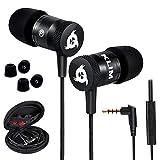 KLIM Fusion Kopfhörer in Ears mit Mikrofon - Langlebig - Innovativ: In-Ear Kopfhörer mit Memory Foam - Neue 2021 Version - 3.5 mm Jack - Sport Gaming In Ear Kopfhörer - Schwarz
