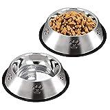 ACUTRE Hundenapf, 2 Pack Edelstahl Hundenapf mit rutschfestem Gummiring, Welpennapf große Wassernäpfe für Hunde Haustiere Napf für Futter oder Wasser, geeignet für Welpen und Katzen (M)