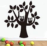 LCFF 3D-Wandaufkleber mit zwei Eulen auf einem Cartoon-Baum, 58 x 61 cm, dekorative Vinyl-Tapete, abnehmbare Kinderzimmer-Wanddekoration