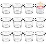 PERFETSELL 12 Stücke Teelichthalter Glas Votivkerzenhalter Klar Glas Kerzengläser Kerzenhalter für Teelichter 4,5 x 4,5 cm Teelichtgläser für Hochzeit, Party, Wohnaccessoire, Tischdeko
