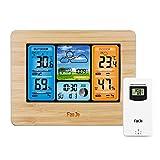 Bontannd Funkwetterstation Mit Außensensor Digital Color Vorhersage Wetterstation Mit Wecker/Barometer/Temperatur/Feuchte-Monitor Wettervorhersage