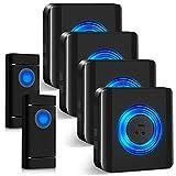 Funkklingel, Satisure Wasserdicht Türklingel Funk Set mit LED-Anzeige geeignet, 300m Reichweite IP55 Aussen Wasserdicht Haustür Klingel (2 Sender und 4 Empfänger)