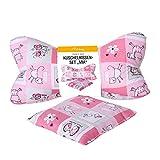 Dr. Berger Kinderkissen Nackenrolle Kinder Kissen Leseknochen 30 cm - Kleinkindkissen Set MIA Nackenkissen mit Wärmekissen 100% Baumwolle - ergonomisches Buchkissen Lesekissen, Tabletkissen pink