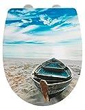 WENKO WC-Sitz Boat High Gloss - Toiletten-Sitz mit Absenkautomatik, Fix-Clip Hygiene Befestigung, Thermoplast, 36.5 x 45 cm, Mehrfarbig