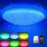 Smart LED Deckenleuchte Dimmbar Kompatibel mit Wifi Alexa Google Home APP, OPPEARL 18W RGB LED Deckenlampe Farbwechsel mit Sternendekor, mit Sternenhimmel für Kinderzimmer Schlafzimmer, 2700-6500K
